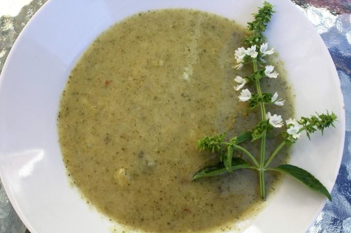 Roasted Garlic and Seared Broccoli-Potato LeekSoup