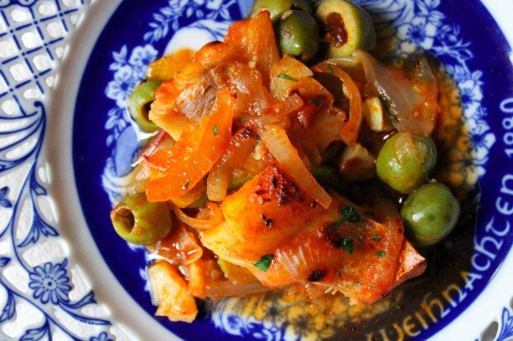 citrus cod and olivestew