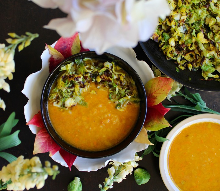 roasted garlic and carrot lentil soup with crispy brusselssprouts